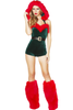 Shop this women's green elf costume with red fur trim holiday romper outfit.