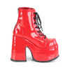 """5"""" Chunky Heel Red Patent P/F Lace-Up Ankle Boot Metal Back Zip*"""