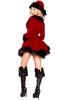 Shop this women's sexy red velvet Santa dress with black fur detail and lace up front.
