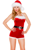 Shop women's red velvet holiday Christmas romper featuring a black belt and faux fur trim