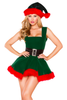 women's head elf Christmas costume.  Mad with Green velvet and red fur trim detail.