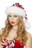 Women's red and white stripe Santa baby Christmas hat.