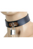 Black Leather Collar with D-Ring and Square Lock
