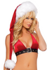 Shop J Valentine Red Velvet Santa Hat with White Fur Trim