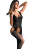 Shop women's black zig zag body stocking lingerie with garters and leggings attached.