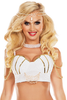 Shop this women's sexy Halloween 2017 mermaid costume with white sequin bra and gold trim accents with jewels