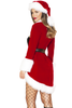 Shop this women's sexy holiday christmas costume featuring a black velvet romper with red coat and white faux fur accents and black belt