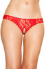 Shop this women's sexy red floral lace panty thong with open crotch