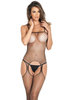 Shop this women's black fishnet body stocking with open crotch and attached suspender straps
