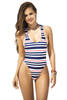 Shop this women's navy blue, red, and white striped monokini with sexy narrow back and lace detail
