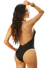 Shop this women's black strappy open front cutout monokini with sexy open front and high cut bottoms