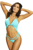 Shop this women's aqua strappy open front cutout monokini with sexy open front and high cut bottoms