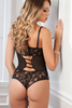 Shop this women's black lace and mesh teddy lingerie with cutout front and thong back with cupless open cups and rhinestone jewel accents and cutout ladder style back with thong rear