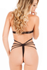 Shop this women's black lace sheer teddy lingerie with cutout front and thong back with rhinestone jewel accents