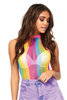 Shop this women's rainbow stripe fishnet bodysuit with high neck collar and cheeky cut rear for rave and festival wear