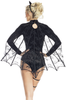 Shop this women's bat costume featuring a crushed velvet bodysuit with sequin front and pentagram design
