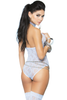 Shop this women's baby blue floral lace cupless teddy lingerie with matching stockings from Elegant Moments sold by Julbie.com