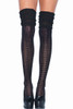 Shop these black over the knee pointelle thigh high socks featuring slouchy over the knee looks