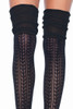 Shop these black thigh high socks with pointelle knit design