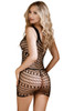 Shop this women's body stocking lingerie dress with laser cutout circles