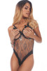 Shop this women's cupless and crotchless sheer teddy lingerie with silver foil floral detail
