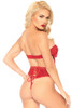 Shop this women's sexy Valentine's day lingerie set with red satin bow bandeau top with lace up high waist panty