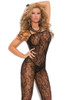 Shop this women's sexy black rose lace crotchless body stocking lingerie