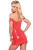 Shop this women's sexy red latex mini dress with  off the shoulder style
