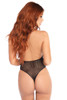 Shop this fishnet halter bodysuit with thong back