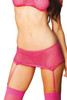 Shop this women's pink fishnet body stocking set that includes an off the shoulder crop top with pink fishnet garter mini skirt and pink thigh high stockings with matching fishnet g string panty