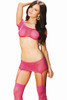 Shop this women's pink fishnet body stocking set that includes a pink fishnet crop top with pink fishnet garter mini skirt and pink thigh high stockings with matching g string panty