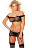 Shop this women's black fishnet body stocking set that includes a black fishnet crop top with black fishnet garter mini skirt and black thigh high stockings with matching g string panty