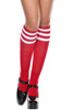 Shop these red and white striped knee high socks with elastic bands