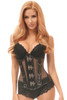 shop this fishnet mesh corset with steel boned underbust corset and leather details