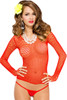 Shop this red fishnet body stocking nylon top with long sleeves and scoop neckline