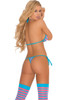 Shop women's pink and blue striped rave bikini with g-string thong bottoms and matching stockings.