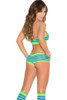 Shop women's neon green and neon blue three piece sexy outfit with knee high socks.