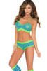 Shop women's green and blue striped 3 piece crop top with booty shorts and knee high leggings.
