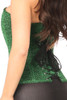 Shop this glitter corset with green nylon and lace up back