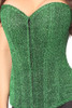 Shop this plus size green steel boned corset with glitter and front zipper
