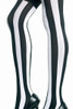 Shop these music legs black and white striped tights with nylon thigh highs and black and white stripes