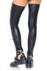 Shop these women's black wet look thigh high stockings with glossy sheen and lace up fronts