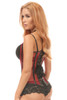 shop this red fishnet steel boned underbust corset with leather details