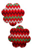 Red petal nipple pasties with white and green zig zag stripes