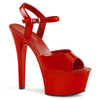 "Sexy red ankle strap stripper heels with 6"" heel."