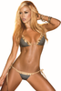 Shop women's black and gold xoxo pattern tie side Brazilian thong bikini set