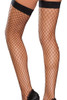 Women's black diamond net thigh highs with banded tops