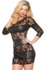 Shop this Sheer Temptations Wet Look & Lace Dress that features a dominatrix outfits sheer lace dress with wet look horizontal bands
