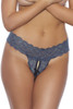 Navy Blue Lace Crotchless Thong Panty