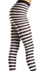 Shop these women's tights with stripes featuring black and white wide striped pantyhose